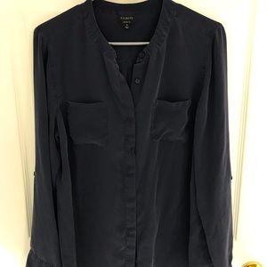 Talbots Size 14 Navy Washable Silk Blouse